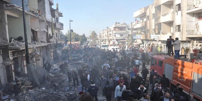 ۱۹ شهید در دو انفجار پیاپی در محله الزهراء در حمص
