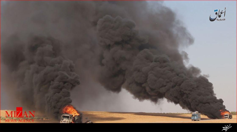نیروهای مردمی سوریه تانکر نفت داعش را منهدم کردند + عکس
