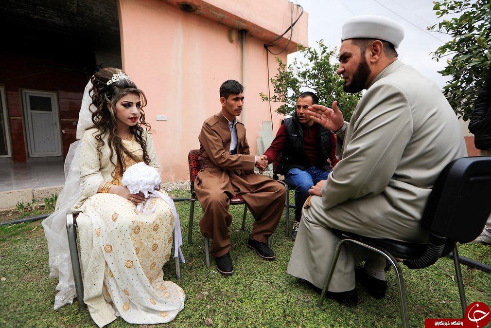 ازدواج عروس و داماد فراری از چنگال داعش در اردوگاه موصل+ تصاویر