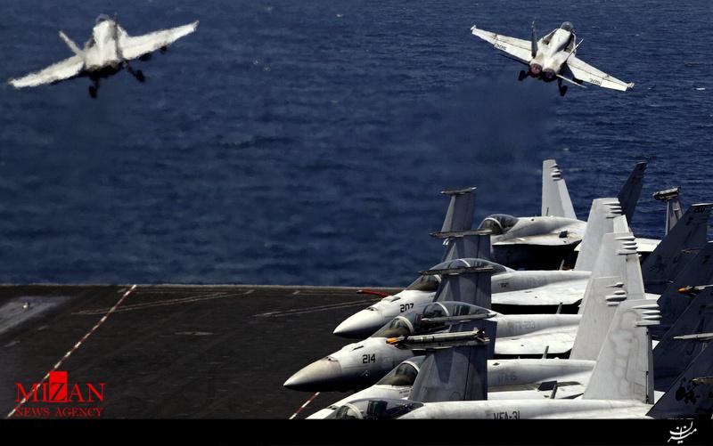 ناوهواپیمابر یو.اس.اس جرج دبلیو بوش آمریکا تحت نظارت پهپادهای ایرانی/تهران کنترل کاملی بر آبهای خلیج فارس دارد