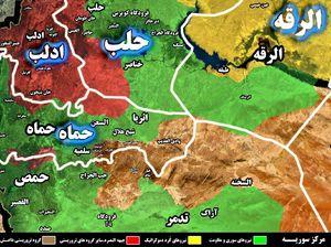 شهرک «مارینا» در جنوب منطقه راهبردی اثریا در آستانه آزادی؛ حملات سنگین تروریستها برای اشغال حومه سلمیه ناکام ماند + نقشه میدانی