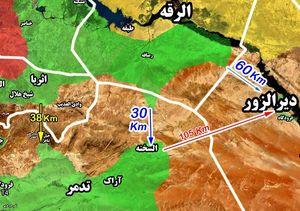 آخرین تحولات میدانی در حومه شهر السخنه؛ پاکسازی بخش شرقی جاده « السخنه – عقیربات» + نقشه میدانی
