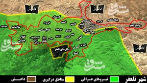 شهر تلعفر از لحاظ نظامی سقوط کرد/ آزادی کامل شهر تا ساعاتی دیگر +نقشه میدانی