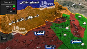 نیروهای سوری در یک قدمی مرکز فرماندهی تروریستها در جنوب غرب دمشق +نقشه میدانی