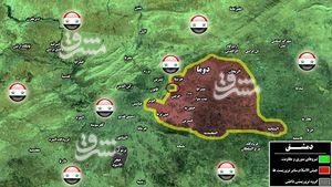 بازپسگیری مناطق اشغالی پایگاه بسیارمهم ارتش سوریه در غوطه شرقی دمشق/ انهدام چهار پایگاه راهبردی تروریستها در شهرک حرستا + نقشه میدانی