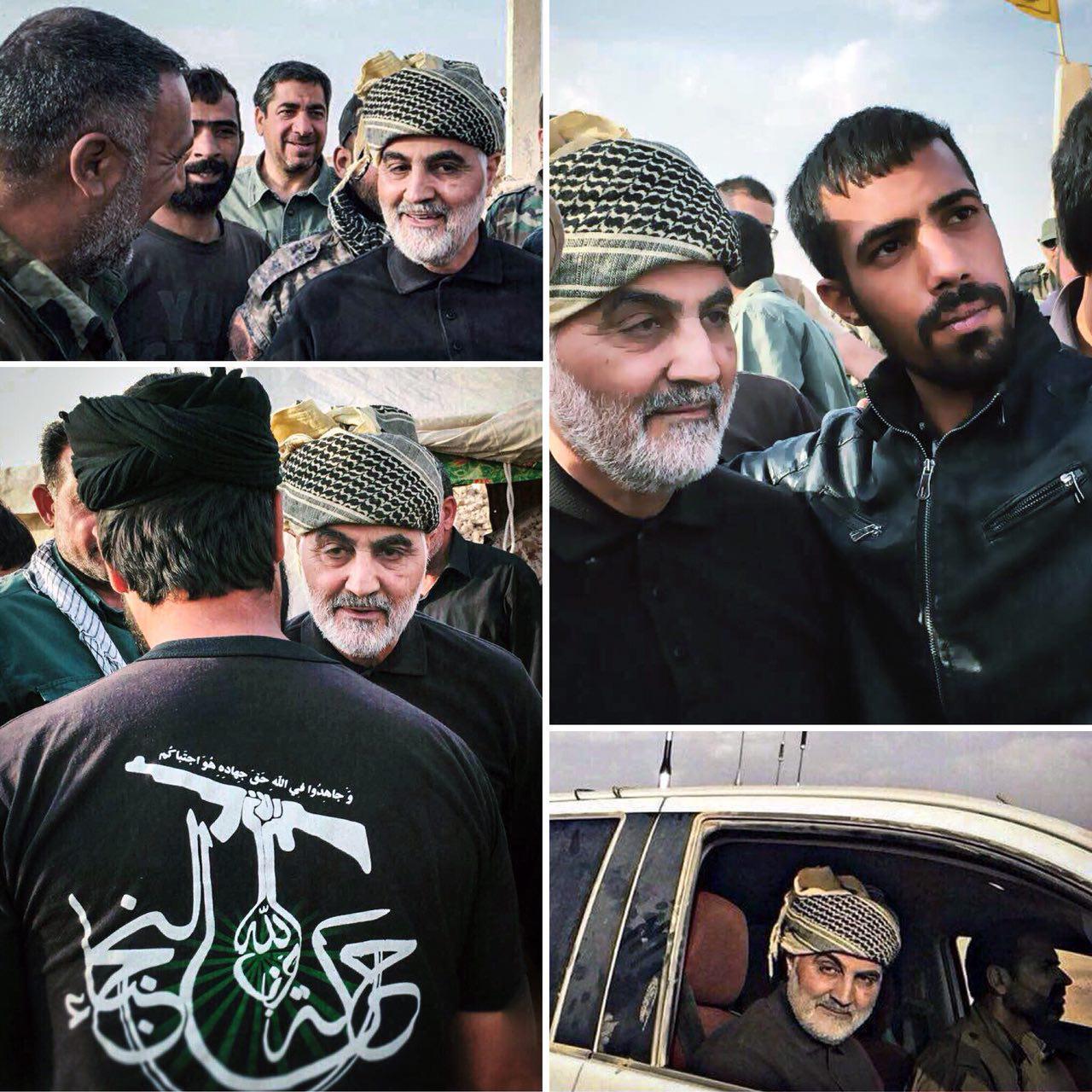 """بازدید سردار سلیمانی از رزمندگان نُجَباء در """"البوکمال"""" سوریه + تصاویر"""