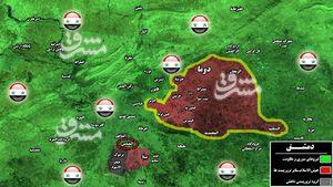 آخرین تحولات میدانی شرق پایتخت سوریه/ محاصره نیروهای ارتش سوریه در پایگاه نظامی حساس غوطه شرقی دمشق+ نقشه میدانی