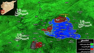 چرا عربستان خروج تروریستهای جیش الاسلام از غوطه شرقی دمشق را خودکشی میداند؟/ محاصره تروریستها در غده سرطانی دمشق + نقشه میدانی و تصاویر