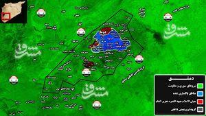 جبهه النصره و فیلق الرحمن در آستانه خروج از حومه شرقی دمشق/ تروریستها تمامی اسناد و انبارهای سلاح را در حومه غوطه شرقی به آتش کشیدند + تصاویر و نقشه میدانی