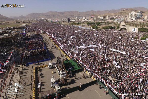 اجتماع بزرگ مردم یمن به مناسبت سومین سالگرد ایستادگی در برابر تجاوز رژیم سعودی + تصاویر
