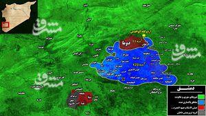 خداحافظی دردناک تروریستهای جبههالنصره با پایتخت سوریه/ پاکسازی ۹۵ درصد غوطه شرقی دمشق پس از ۷ سال جنگ و ویرانی+ نقشه میدانی