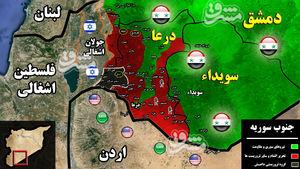 پرواز جنگندههای آمریکایی بر فراز آسمان جنوب سوریه/ کمکهای نظامی عربستان از خاک اردن وارد سوریه شد + نقشه میدانی