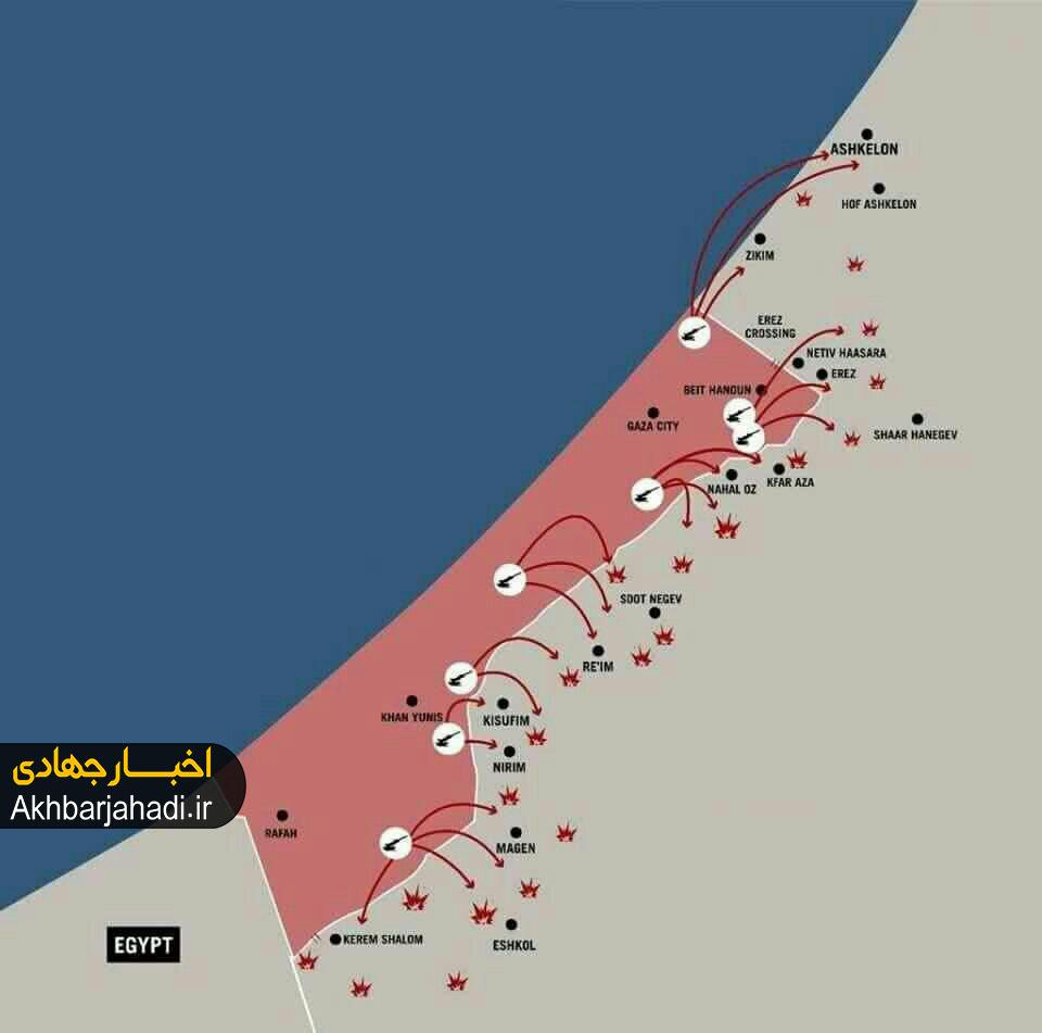 نقشه حملات موشکی مقاومت فلسطین به مناطق صهیونیستنشین