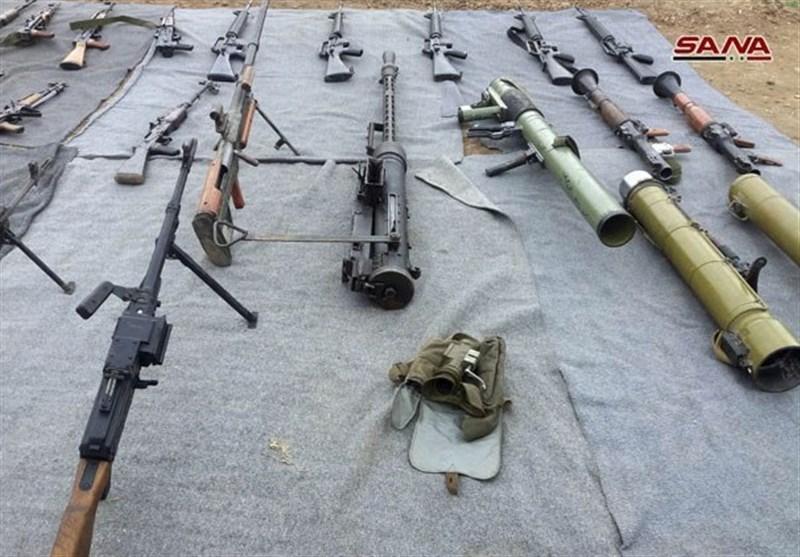 کشف سلاح و داروهای ساخت اسرائیل و آمریکا در حومه دمشق و قنیطره + تصاویر