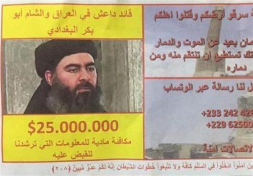 جایزه ۲۵ میلیون دلاری برای دستگیری بغدادی + عکس