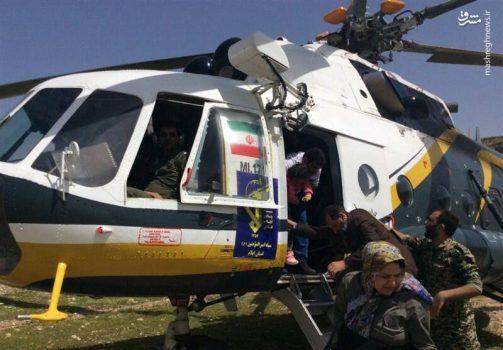 امدادرسانی بالگردهای هوافضای سپاه به سیلزدگان + عکس