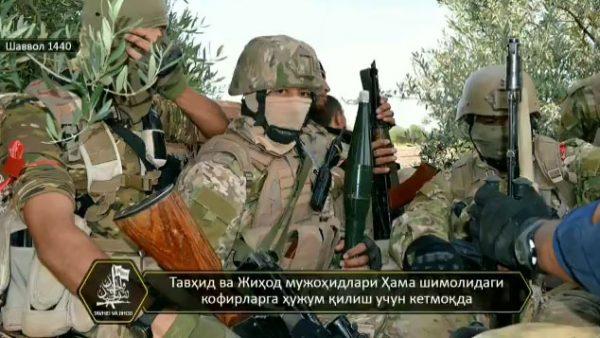 """تصاویری از حضور گروه ازبکستانی """"توحید و الجهاد"""" در نبردهای شمال غرب حماه"""