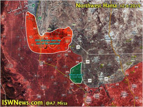 مقایسه مناطقی که به تازگی در شمال غرب حماه به کنترل ارتش سوریه و مسلحین در آمده است.